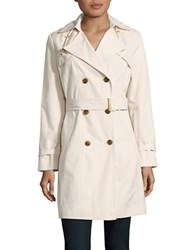 Cole Haan Solid Double Breasted Trench Coat Ivory
