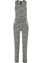 Tart Collections Acacia Faux Leather Trimmed Printed Stretch Modal Jersey Jumpsuit Black