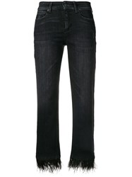 Cambio Feather Hem Cropped Jeans Black