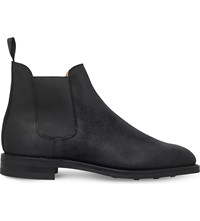 Crockett Jones Distressed Leather Chelsea Boots Black