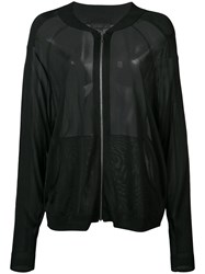 Barbara Bui Sheer Bomber Jacket Women Viscose M L Black