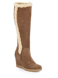 Aquatalia By Marvin K Curran Faux Fur Trimmed Suede Tall Wedge Boots Smog