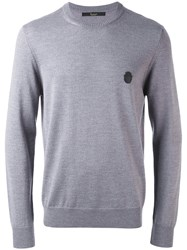 Billionaire Logo Patch Jumper Men Merino S Grey