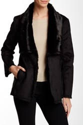 Tart Chrissy Faux Fur Faux Leather Trim Coat Black