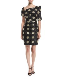 Milly Vivian Asymmetric Polka Dot Fil Coupe Dress Black