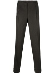 Canali Pleated Straight Leg Trousers Brown