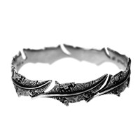 House Of Alaia Fabrics Of Life Feather Bangle Oxidized Sterling Silver