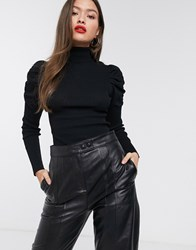 River Island Roll Neck Sweater With Puff Sleeves In Black