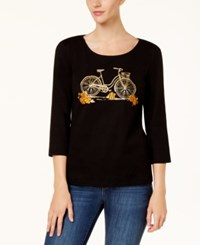 Karen Scott Petite Cotton Embellished Bicycle Graphic Top Created For Macy's Deep Black