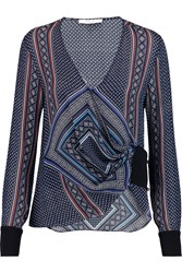 10 Crosby By Derek Lam Printed Silk Georgette Wrap Top Blue