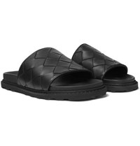 Bottega Veneta Intrecciato Leather Slides Black