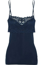 Hanro Moments Stretch Leavers Lace Paneled Cotton Jersey Camisole Navy