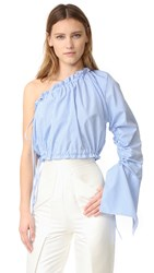 Georgia Alice Crescent One Shoulder Shirt Blue And White