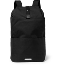 Brooks England Dalston Leather Trimmed Canvas Backpack Black