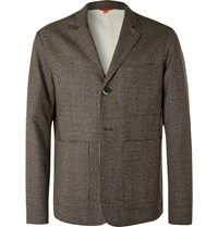 Barena Brown Unstructured Puppytooth Wool Suit Jacket Brown