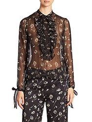 Etro Wildflower Print Silk Chiffon Ruffle Blouse Black