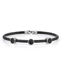 Alor Triple Onyx Station Cable Bracelet 18Kt Wg