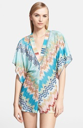 Missoni Mare Wave Stitch Cover Up Romper Blue Multi