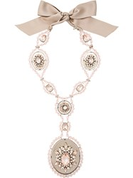 Lanvin Vintage Beaded Medallion Long Necklace Pink And Purple