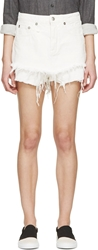 R 13 Ivory Twill Layered Cut Off Shorts