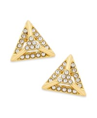 Abs By Allen Schwartz Gold Tone Pave Pyramid Stud Earrings