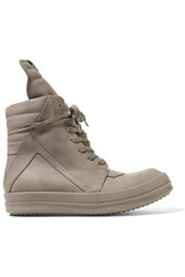 Rick Owens Leather High Top Sneakers Mushroom