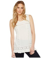 Dylan By True Grit Crushed Rayon And Crochet Ruffle Tank Top Vintage White Women's Sleeveless Beige