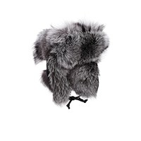 Crown Cap Fur And Leather Aviator Hat Black