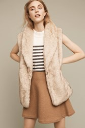 Anthropologie Faux Fox Vest Beige