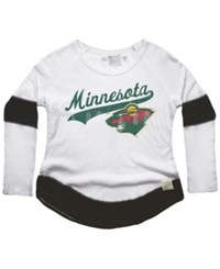 Retro Brand Women's Minnesota Wild Faceoff Thermal Long Sleeve T Shirt White