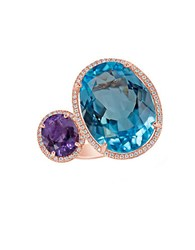 Marco Moore Topaz Amethyst Diamond And 14K Rose Gold Ring Blue Topaz