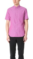 Gitman Brothers Vintage Short Sleeve Iridescent Chambray Shirt Pink