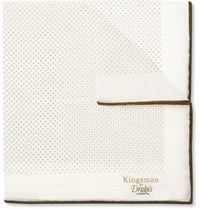 Kingsman Drake's Polka Dot Cotton And Silk Blend Pocket Square White