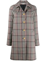 Stella Mccartney Single Breasted Check Coat 60