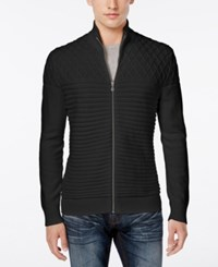 Inc International Concepts Men's Full Zip Multi Textured Sweater Only At Macy's Deep Black