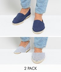 Asos Canvas Espadrilles In Navy And Blue Stripe 2 Pack Save