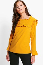 Boohoo Jill Ruffle Neck And Cuff Blouse Mustard