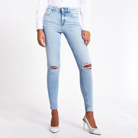 River Island Light Blue Ripped Amelie Mid Rise Skinny Jean