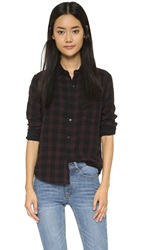 Joe's Jeans Double Woven Austin Plaid Button Down Black Mustang