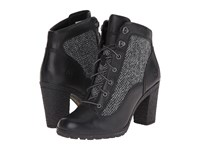 Timberland Glancy Fabric And Leather Hiker Jet Black Woodlands Grey Harris Tweed Wool Women's Boots