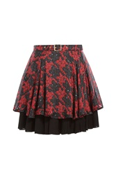 Just Cavalli Printed Silk Skirt With Pleats Red