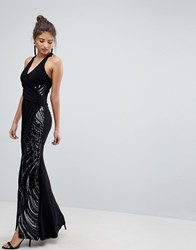 Lipsy Halter Maxi Dress With Sequin Detail Black