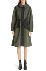 Sandy Liang Lace Overlay Hooded Coat Olive Black