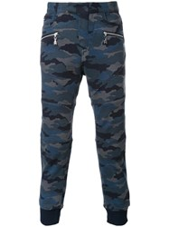 Loveless Camouflage Print Trousers Blue