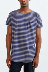 Feathers Striped Long Scoop Neck Tee Navy