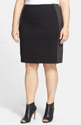 Lysse 'Minetta' Faux Leather And Ponte Pencil Skirt Plus Size Black