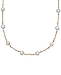 Honora Style Cultured Freshwater Pearl Station Necklace In 14K Gold 6Mm Yellow Gold