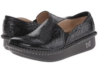 Alegria Debra Professional Black Emboss Rose Leather Women's Slip On Shoes