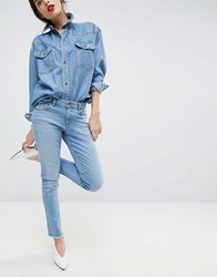 Esprit Cropped Distressed Stretch Jeans Blue