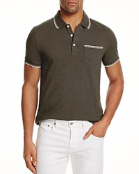 Bloomingdale's The Men's Store At Tipped Regular Fit Polo Shirt Black Olive